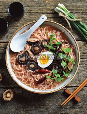 Food & Drink: Asian ramen noodle soup with mushrooms Vegetarian healthy food #13740
