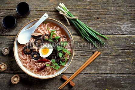 Food & Drink: Asian ramen noodle soup with mushrooms Vegetarian healthy food #13741