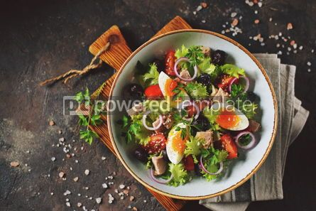 Food & Drink: Healthy organic lettuce salad with canned tuna #13747