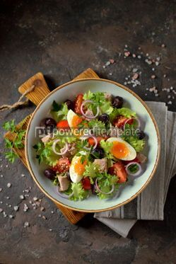 Food & Drink: Healthy organic lettuce salad with canned tuna #13748