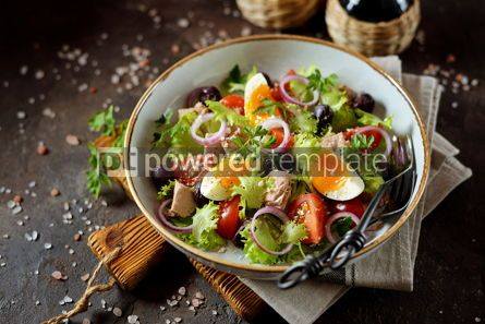 Food & Drink: Healthy organic lettuce salad with canned tuna #13753
