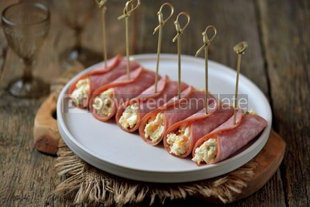 Food & Drink: Ham rolls with soft cheese boiled eggs and green onions #13796
