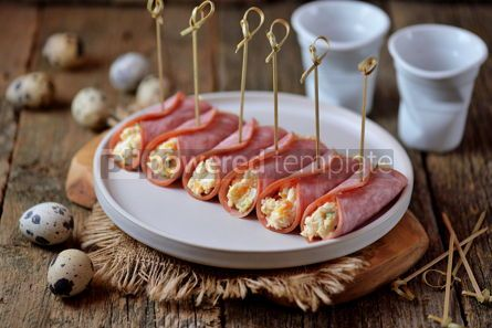 Food & Drink: Ham rolls with soft cheese boiled eggs and green onions #13798