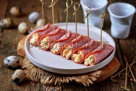 Food & Drink: Ham rolls with soft cheese boiled eggs and green onions #13799