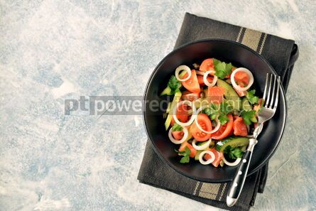 Food & Drink: Healthy salad of cherry tomatoes cucumber celery onions capers and parsley with salted salmon #13804