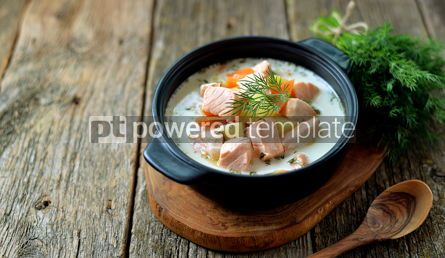 Food & Drink: Finnish wild salmon soup with cream on an old wooden background Rustic style #13823
