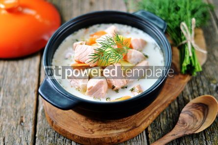 Food & Drink: Finnish wild salmon soup with cream on an old wooden background Rustic style #13824