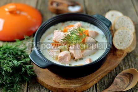 Food & Drink: Finnish wild salmon soup with cream on an old wooden background Rustic style #13825