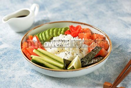 Food & Drink: Sushi bowl with rice salmon avocado cucumber sweet pepper ginger and sesame Healthy food #13834