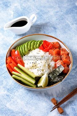 Food & Drink: Sushi bowl with rice salmon avocado cucumber sweet pepper ginger and sesame Healthy food #13835