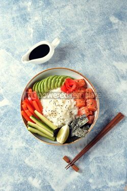 Food & Drink: Sushi bowl with rice salmon avocado cucumber sweet pepper ginger and sesame Healthy food #13836