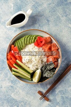 Food & Drink: Sushi bowl with rice salmon avocado cucumber sweet pepper ginger and sesame Healthy food #13837