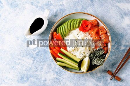 Food & Drink: Sushi bowl with rice salmon avocado cucumber sweet pepper ginger and sesame Healthy food #13838