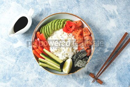 Food & Drink: Sushi bowl with rice salmon avocado cucumber sweet pepper ginger and sesame Healthy food #13839