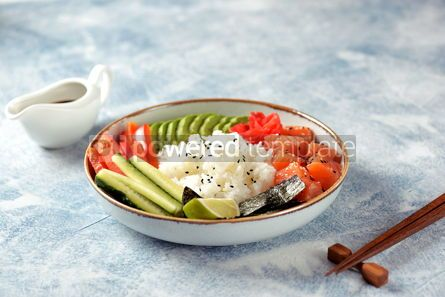 Food & Drink: Sushi bowl with rice salmon avocado cucumber sweet pepper ginger and sesame Healthy food #13840