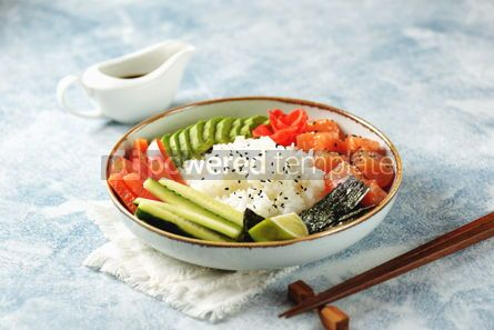Food & Drink: Sushi bowl with rice salmon avocado cucumber sweet pepper ginger and sesame Healthy food #13842