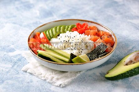 Food & Drink: Sushi bowl with rice salmon avocado cucumber sweet pepper ginger and sesame Healthy food #13844