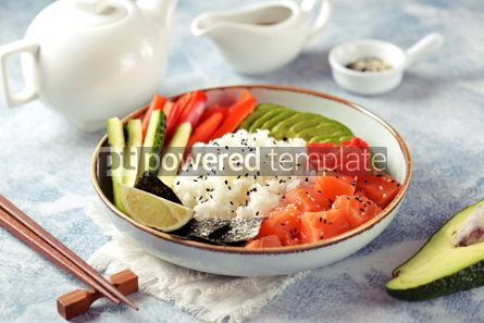 Food & Drink: Sushi bowl with rice salmon avocado cucumber sweet pepper ginger and sesame Healthy food #13845