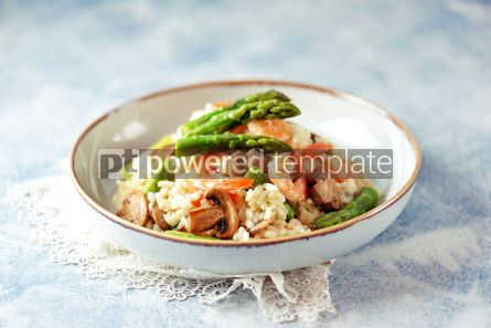 Food & Drink: Italian risotto with shrimps mushrooms asparagus and parmesan Healthy food #13857