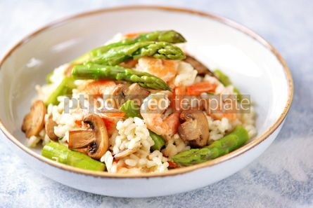 Food & Drink: Italian risotto with shrimps mushrooms asparagus and parmesan Healthy food #13858