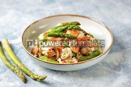 Food & Drink: Italian risotto with shrimps mushrooms asparagus and parmesan Healthy food #13859