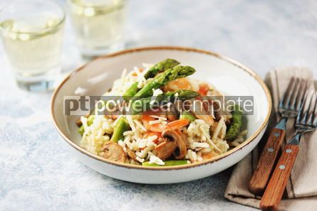 Food & Drink: Italian risotto with shrimps mushrooms asparagus and parmesan Healthy food #13860