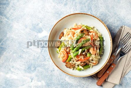 Food & Drink: Italian risotto with shrimps mushrooms asparagus and parmesan Healthy food #13864