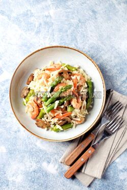 Food & Drink: Italian risotto with shrimps mushrooms asparagus and parmesan Healthy food #13865