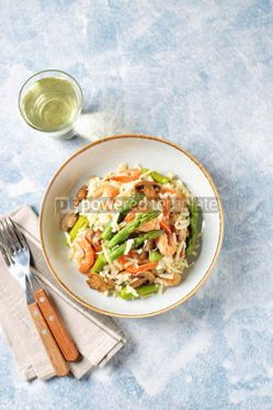 Food & Drink: Italian risotto with shrimps mushrooms asparagus and parmesan Healthy food #13866