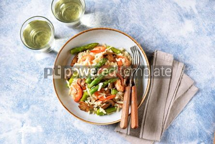Food & Drink: Italian risotto with shrimps mushrooms asparagus and parmesan Healthy food #13867
