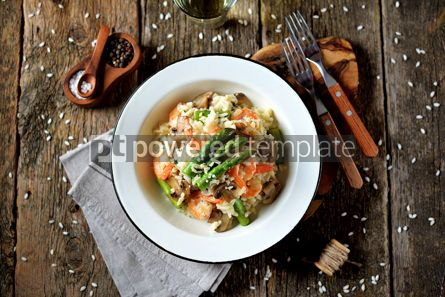 Food & Drink: Italian risotto with shrimps mushrooms asparagus and parmesan Healthy food #13868