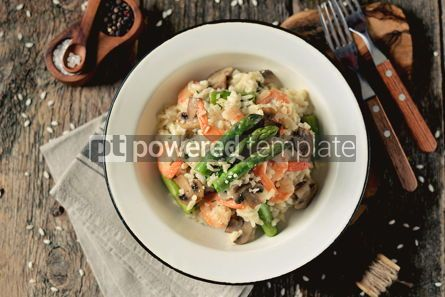 Food & Drink: Italian risotto with shrimps mushrooms asparagus and parmesan Healthy food #13869