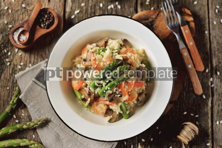 Food & Drink: Italian risotto with shrimps mushrooms asparagus and parmesan Healthy food #13870