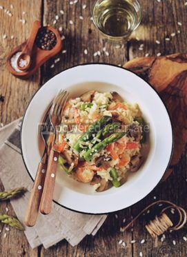 Food & Drink: Italian risotto with shrimps mushrooms asparagus and parmesan Healthy food #13871