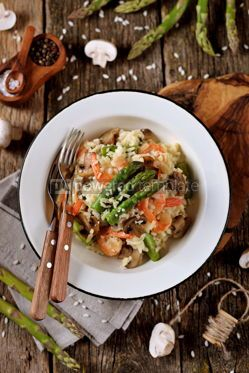 Food & Drink: Italian risotto with shrimps mushrooms asparagus and parmesan Healthy food #13872