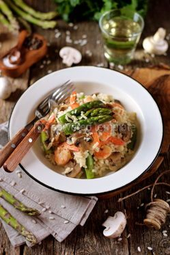 Food & Drink: Italian risotto with shrimps mushrooms asparagus and parmesan Healthy food #13873