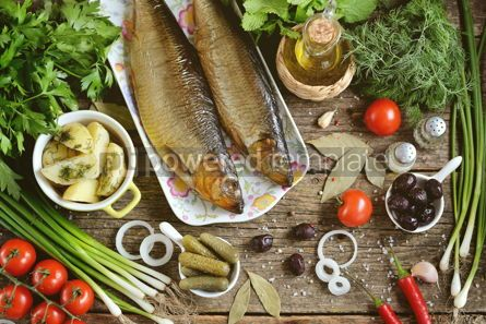 Food & Drink: Mediterranean cuisine - smoked herring with boiled potatoes #13878