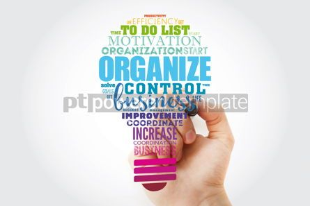 Business: ORGANIZE light bulb word cloud collage business concept backgro #13911
