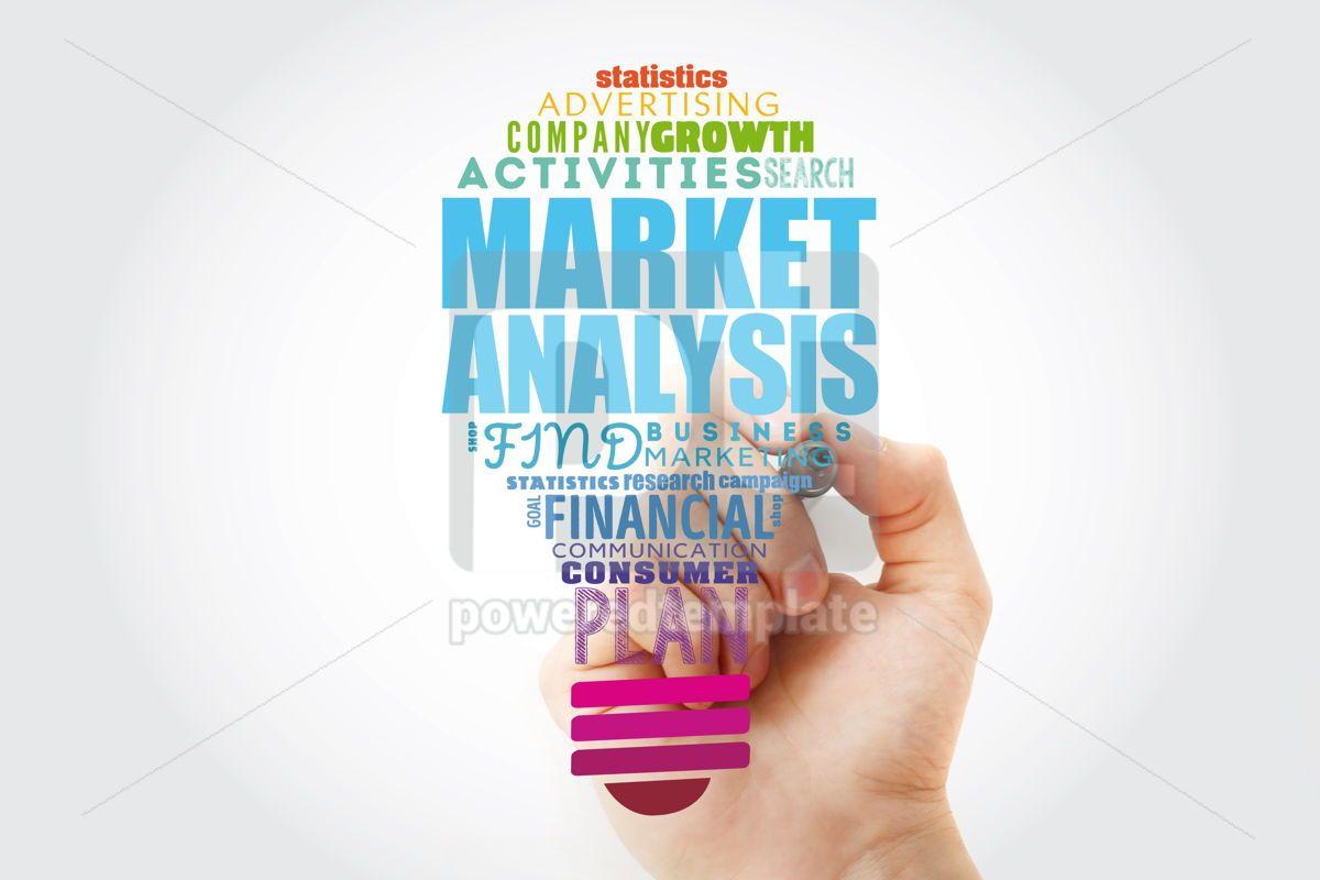 Market Analysis light bulb word cloud collage business concept, 13914, Business — PoweredTemplate.com