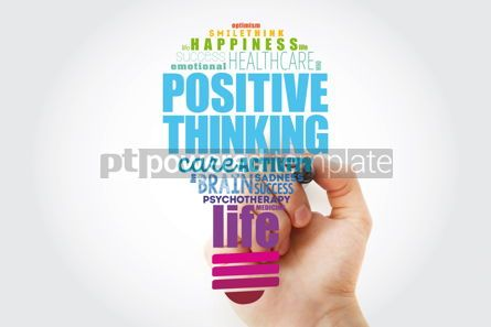 Business: Positive thinking light bulb word cloud collage health concept #13916