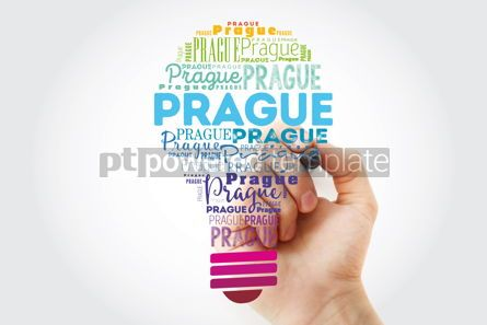 Business: Prague light bulb word cloud travel concept background #13922