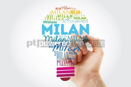 Business: Milan light bulb word cloud travel concept background #13923