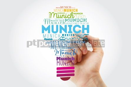 Business: Munich light bulb word cloud travel concept background #13924