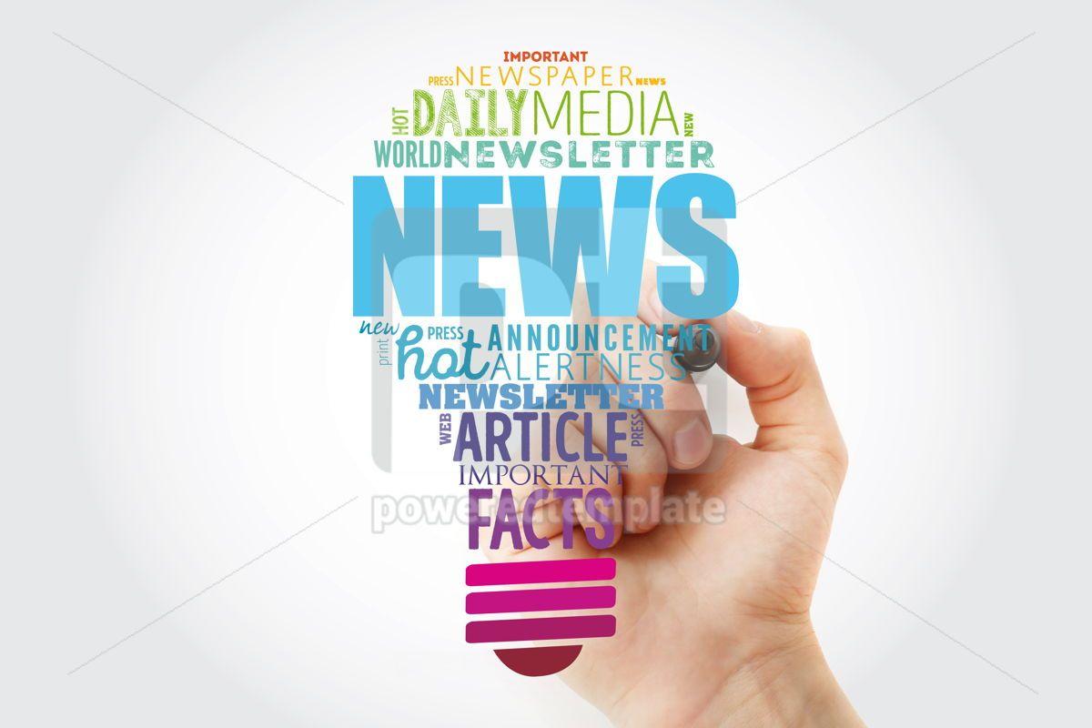 NEWS light bulb word cloud collage business concept background, 13925, Business — PoweredTemplate.com