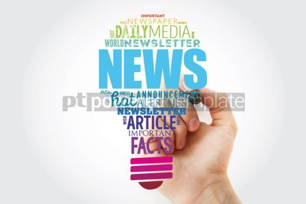 Business: NEWS light bulb word cloud collage business concept background #13925
