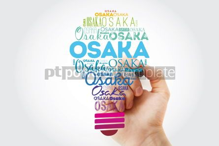 Business: Osaka light bulb word cloud travel concept background #13926