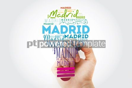 Business: Madrid light bulb word cloud travel concept background #13929