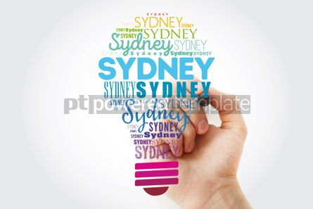 Business: Sydney light bulb word cloud travel concept background #13930