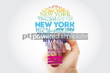 Business: New York light bulb word cloud travel concept background #13932