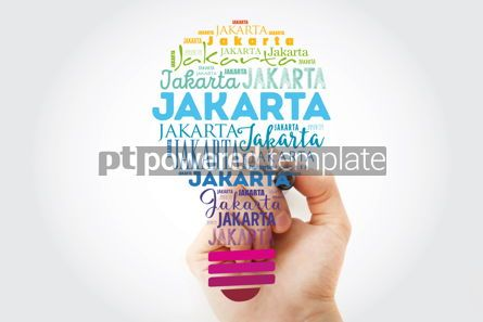 Business: Jakarta light bulb word cloud travel concept background #13933